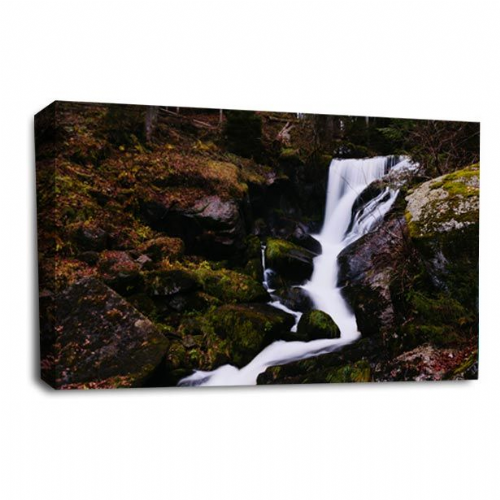 Waterfall Wall Art Picture Forest Rocky Wood White Grey Black Print